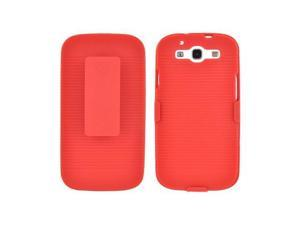 Samsung Galaxy S3 Rubberized Hard Case &  Combo w/ Belt Clip & Stand - Red