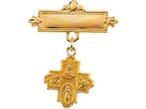 Four Way Medal Baptismal Brooch in 14k Yellow Gold