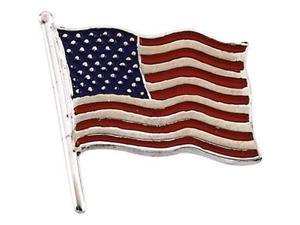 American Flag Lapel Pin in 14k White Gold