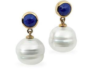 Circle Pearl Lapis Earrings in 14k White Gold