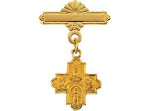 Four Way Baptismal Brooch in 14k Yellow Gold