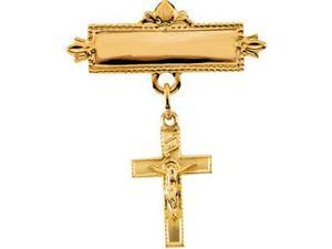 Baptismal Brooch with Crucifix in 14k Yellow Gold