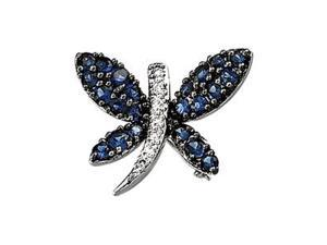 Diamond Blue Sapphire Brooch (0.06 Ct. tw.) (0.06 Ct. tw.)