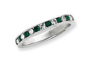 Green White CZ Eternity Band