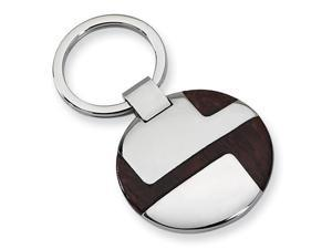 Wood Keychain in Stainless Steel