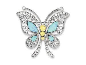 Blue Opal CZ Butterfly Pin in Sterling Silver