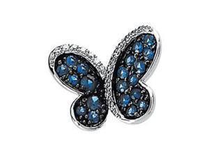 Diamond Blue Sapphire Brooch (0.1 Ct. tw.) (0.1 Ct. tw.)