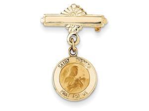 St Theresa Medal Pin in 14k Yellow Gold