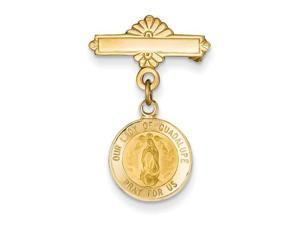 Our Lady Of Guadalupe Medal Pin in 14k Yellow Gold