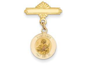 St Lucy Medal Pin in 14k Yellow Gold
