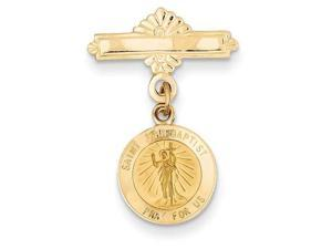 St John The Baptist Medal Pin in 14k Yellow Gold
