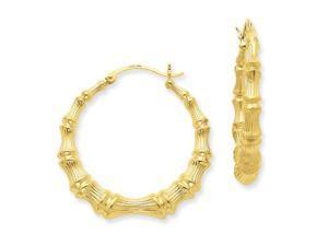 Bamboo Hoop Earrings in 14k Yellow Gold