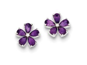 Amethyst Floral Earrings in Sterling Silver