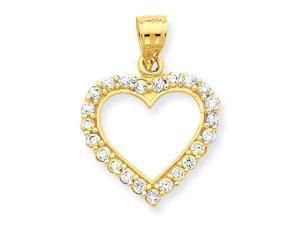 CZ Heart Pendant in 10k Yellow Gold