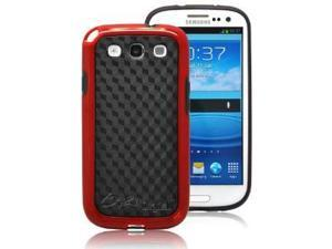 CrazyOnDigital SLENDER Skin Case for Samsung Galaxy S III S 3 (AT&T, T-Mobile, Sprint, Verizon) (Black-Red)