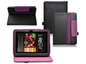 Ionic 2-Tone Designer Leather Case for Amazon Kindle Fire HD 7-Inch - Black/Purple