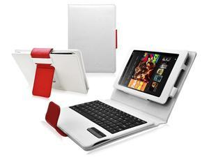 Ionic Bluetooth Keyboard Leather Case Cover Fits Amazon Kindle HD 7-Inch -White Red