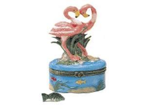 Direct Connection Tropical Pink Flamingos Trinket Box