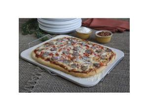Pizzacraft PC0002 15' x 12.1' Rectangle Ceramic Baking/Pizza Stone with Wire Frame
