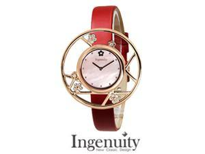 Ingenuity NCT0006-1s Women's Jewelry Watch - Interchangeable Red Leather Straps - Plum Blossom