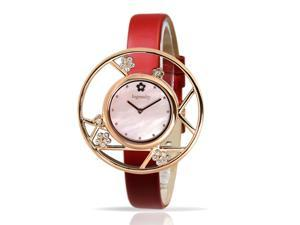 Ingenuity Women's NCT0006-1s Rose Gold Watch with Interchangeable Red Leather Straps - Plum Blossom