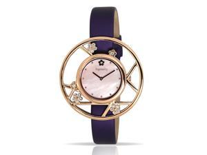 Ingenuity Women's NCT0006-1s_P Rose Gold Watch Interchangeable Purple Leather Straps - Plum Blossom