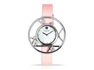 Ingenuity Women's NCT0006-As_P Silver-Tone   Watch Interchangeable Pink Leather Straps - Plum Blossom