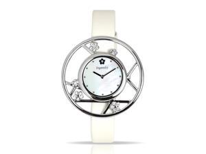 Ingenuity  Women's NCT0006-As_W Silver-Tone Interchangeable White Leather Straps - Plum Blossom