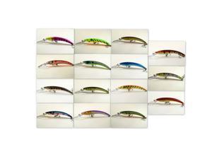 "Akuna Lot of 15 5.9"" Holographic Hand Painted Metallic Colors Deep Diving Pike Bass Walleye Pickerel Fishing Lures Tackles"