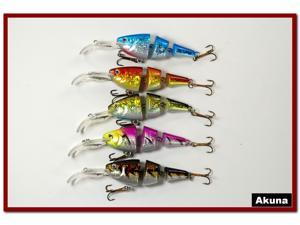"Akuna Pack of 5 Wobblin Goblin 3.5"" Bass Trout Pike Fishing Lure Swimbait Tackle B"