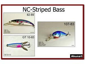 Akuna Pack of 3 Lures for Striped Bass fishing in each of the 50 states