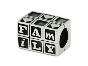 Genuine Ohm Beads (TM) Product. 925 Sterling Silver Love Family Baby Blocks European Bead Charm.