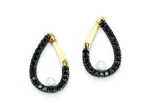 Genuine 14K Yellow Gold Black Diamond And Fresh Water Pearl Hoop Earrings 2 Grams of Gold