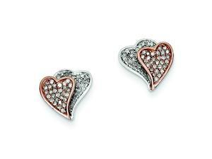 Genuine 14K Two-Tone Diamond Double Heart Post Earrings 2.9 Grams of Gold
