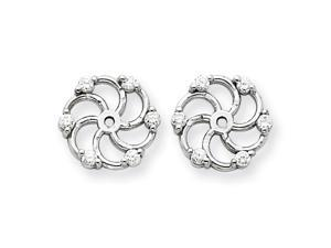 Genuine 14K White Gold Vs Diamond Earrings Jacket 0.8 Grams of Gold
