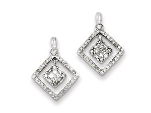 Genuine .925 Sterling Silver Rhodium Plated Diamond Square Post Dangle Earrings 1.7 Grams.