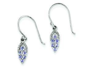 Genuine .925 Sterling Silver Diamond & Tanzanite Shepherd Hook Earrings 1.7 Grams.