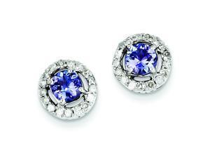 Genuine .925 Sterling Silver Diamond & Tanzanite Circle Post Earrings 2.3 Grams.