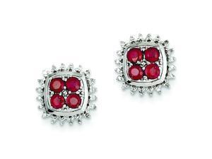 Genuine .925 Sterling Silver Rhodium Plated Diamond & African Ruby Post Earrings 3.2 Grams.