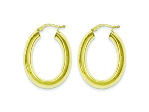 Genuine .925 Sterling Silver & Gold Plated Oval Hoop Tube Earrings 5.4 Grams.