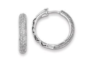 Genuine .925 Sterling Silver Diamond Hinged Hoop Earrings 5.1 Grams.