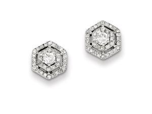 Genuine .925 Sterling Silver Rhodium Plated Diamond Post Earrings 0.9 Grams.