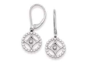 Genuine .925 Sterling Silver Rhodium Plated Diamond Circle Leverback Earrings 1.6 Grams.