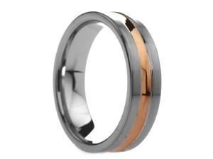 6 mm Mens Tungsten Carbide Rings Rose Gold Plated Groove - Includes Engraving - Size 4 - 14