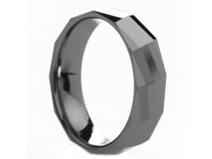 6 mm Mens Tungsten Carbide Rings Polished Diamond Faceted - Includes Engraving - Size 4 - 12.5