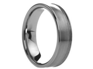 6 mm Mens Tungsten Carbide Rings Rounded Brushed Center - Includes Engraving - Size 4 - 12.5