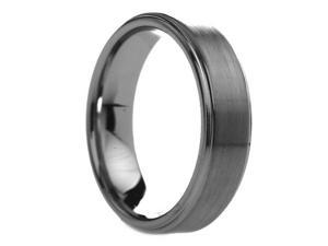 6 mm Mens Tungsten Carbide Rings Raised Brush Finish Center - Includes Engraving - Size 4 - 13