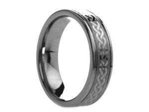 6 mm Mens Tungsten Carbide Rings Celtic Knot Design - Includes Engraving - Size 4 - 13