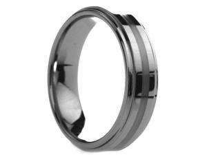 6 mm Mens Tungsten Carbide Rings Raised Center Brushed Stripe - Includes Engraving - Size 4 - 13