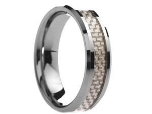 6 mm Mens Tungsten Carbide Rings White Carbon Fiber  - Includes Engraving - Size 4 - 12.5